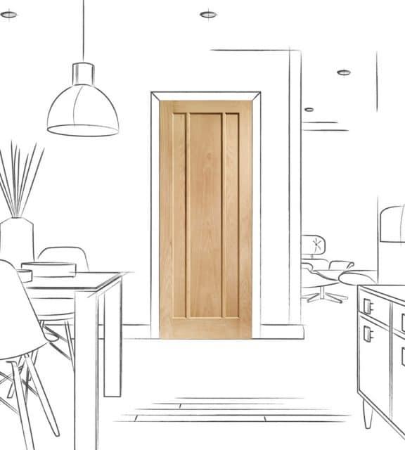 worcester oak internal kitchen door