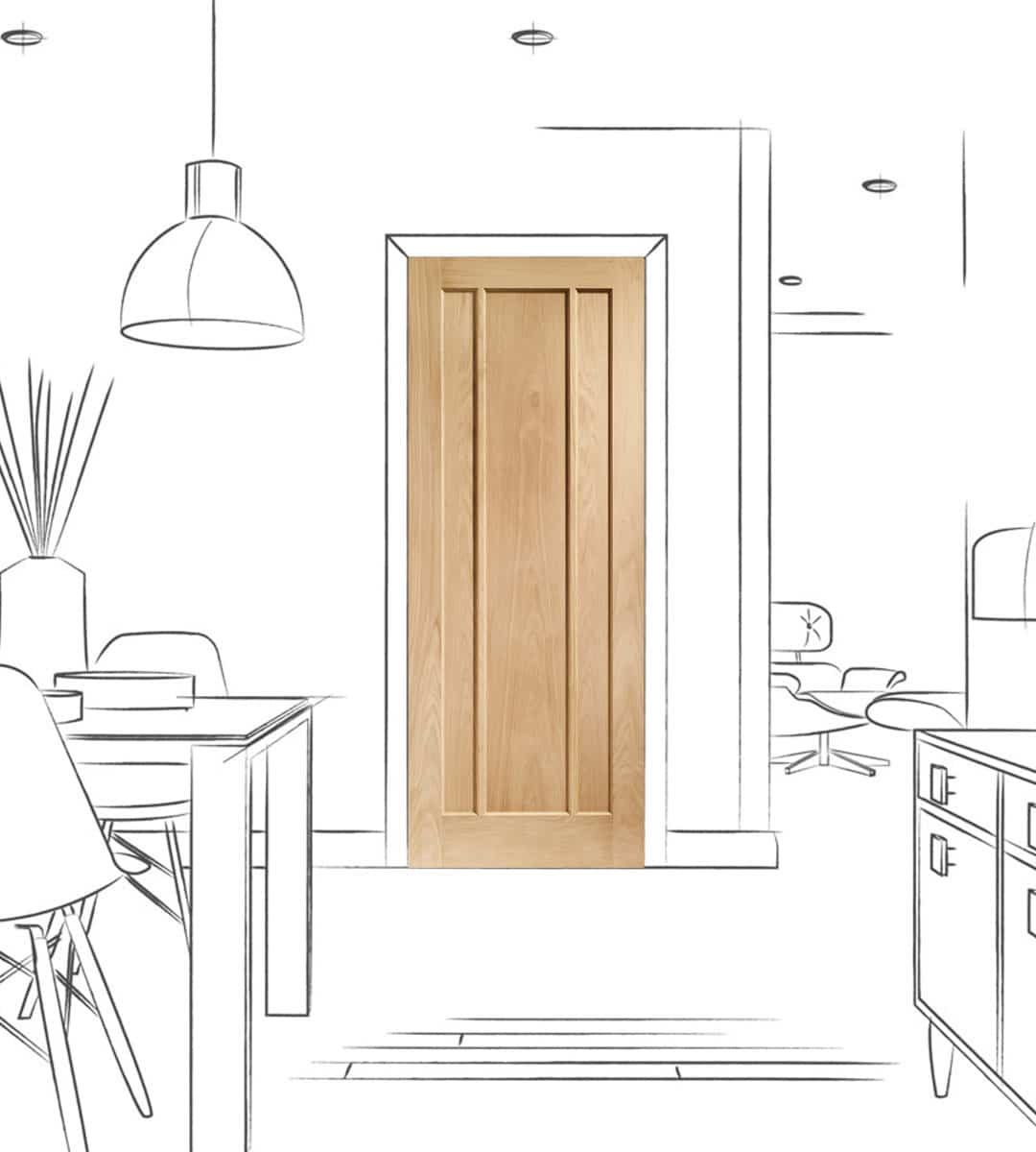 worcester oak internal kitchen door
