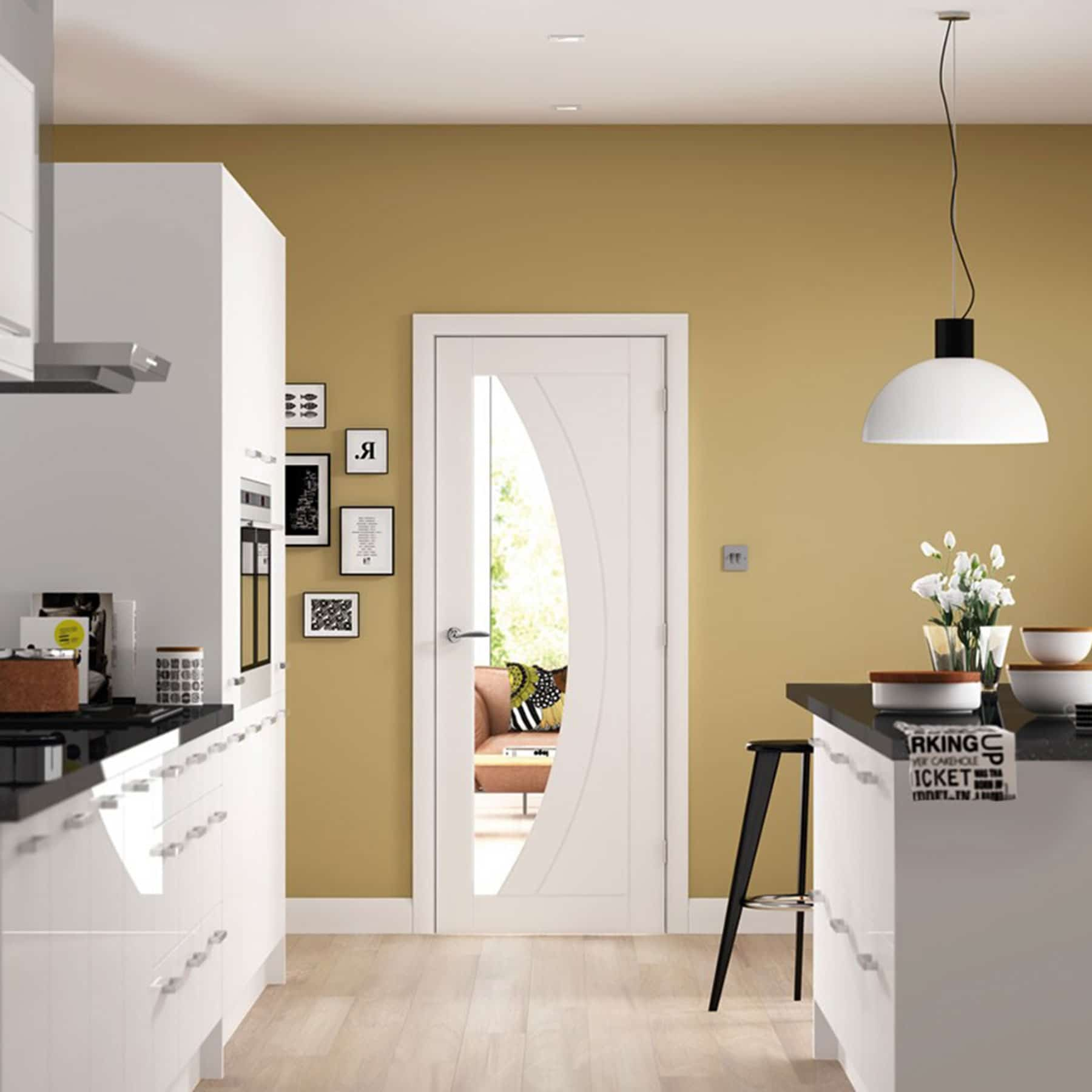 Xl Joinery Salerno White Internal Door With Clear Glass